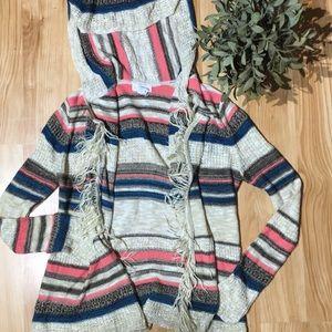Full Tilt Hooded Fringe Cardigan Size M